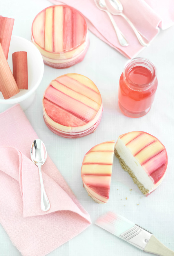 Rhubarb-Wrapped Pineapple Mousse Cake by Sprinkle Bakes