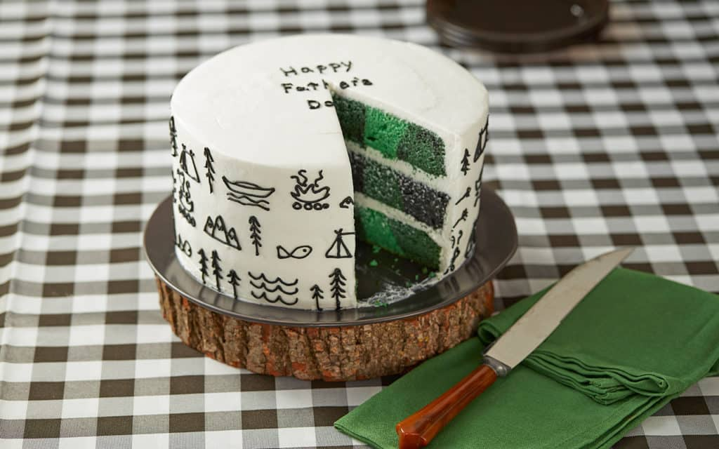 Father's Day Cake with black stick drawings of fish, tents, campfires, trees, mountains. Inside of cake is a checkerboard print of different shades of green.