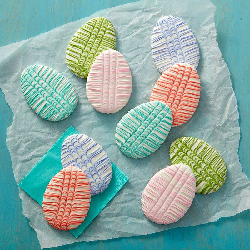 easter egg cookies decorated with stripes