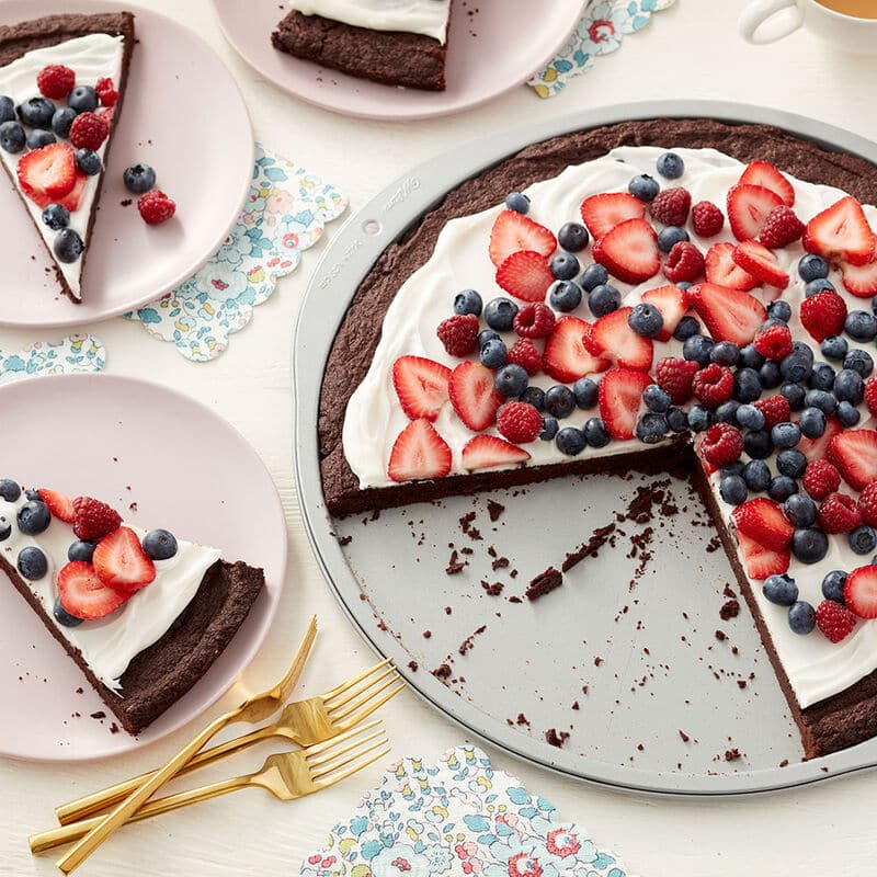 brownie dessert pie tipped with mixed berries